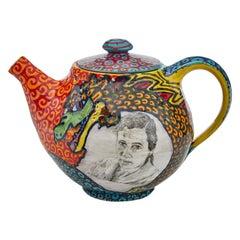 Agnes Martin/Jean-Michel Basquiat Teapot in Glazed Ceramic by Roberto Lugo