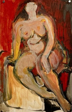 """1950s """"Female Nude, Red Wall"""" Figurative Painting NYC Bauhaus Artist"""