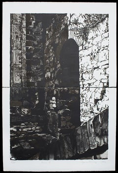 Assisi I,  monochromatic hand pulled print, architectural