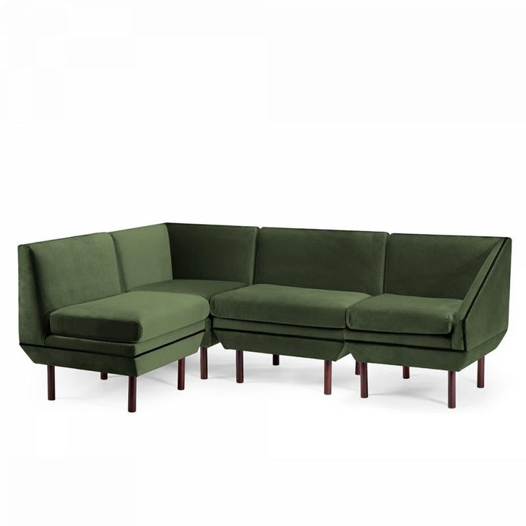 Agnes may be our most customizable piece by being completely modular. Choose from different sizes, with the option of two arms, one arm or none and a great range of materials to choose from. Made to Order.   For sales with delivery address within