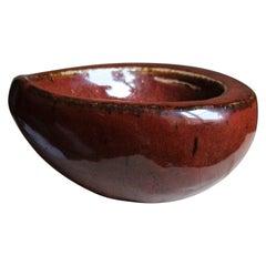 Agnete Jørgensen, Organic Bowl, Oxblood Glazed Stoneware, Bing & Grøndahl, 1960s