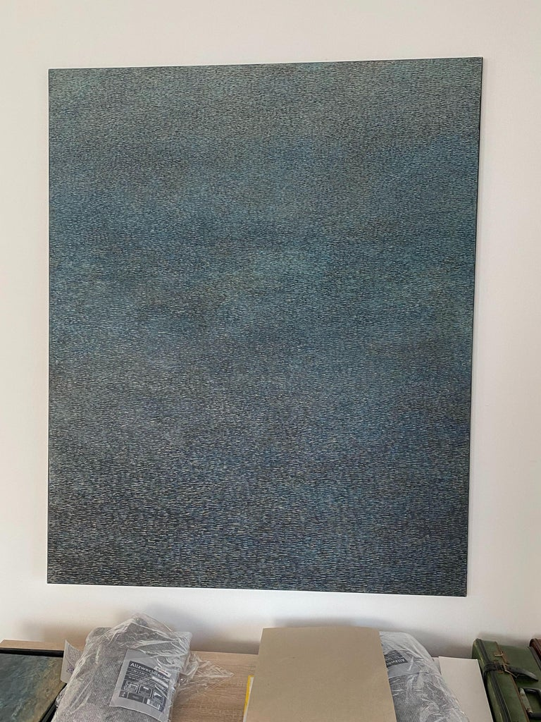 Lofoten, Green - Contemporary Conceptual Abstract,  Minimalistic Oil Painting For Sale 1