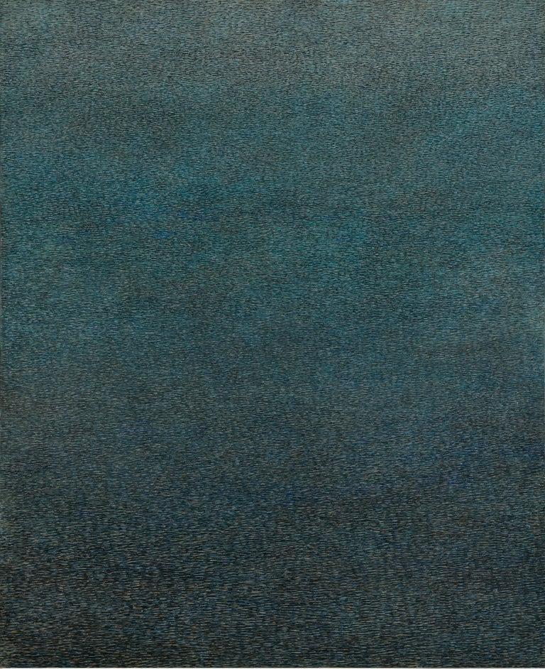 Agnieszka Korejba Figurative Painting - Lofoten, Green - Contemporary Conceptual Abstract,  Minimalistic Oil Painting