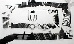 Not necessarily in Paris - Print, Etching, Interiors, Black & white, Abstraction
