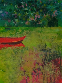 Red Boat 2 - Modern Oil Landscape Painting, Lake View, Nature, Green Tones