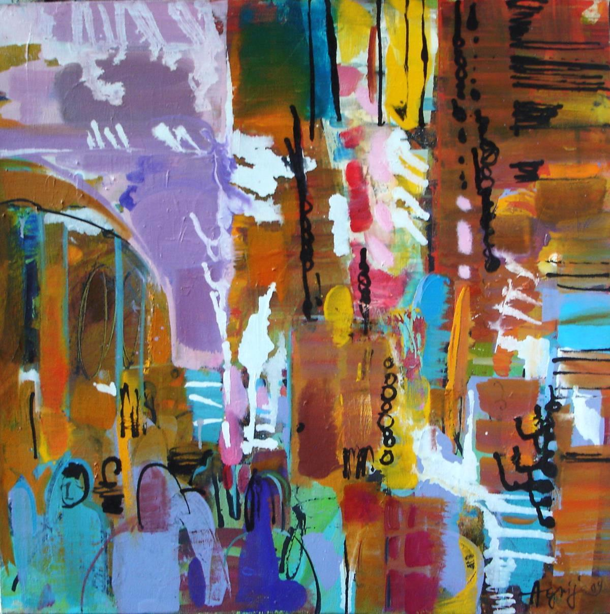 Asian Market - abstract cityscape illistrative oil painting modern contemporary