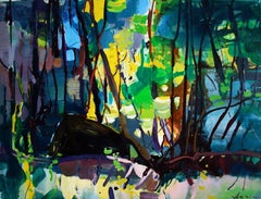 Boats in the Forest - abstract colourful oil painting artwork contemporary art