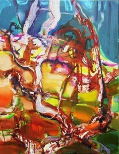Dunes - abstract vibrant landscape trees oil painting modern contemporary