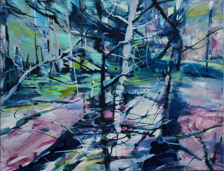 Agnija Germane Landscape Painting - Forest by the Sea - abstract oil artwork modern contemporary art 21st century