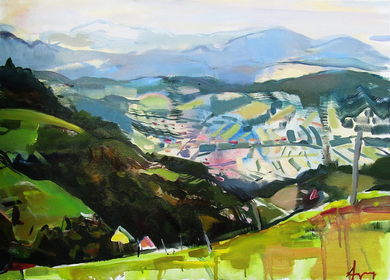 Galicija - original abstract oil painting modern contemporary art landscape
