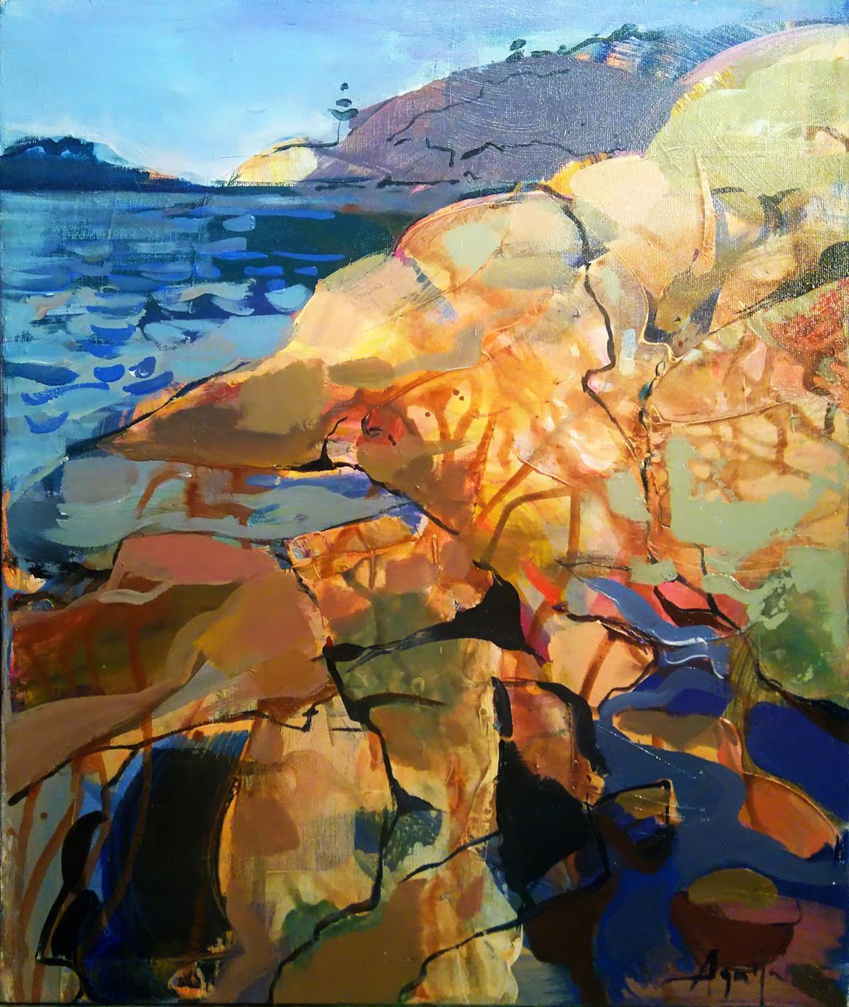 Stone Island - abstract oil painting modern contemporary artwork landscape coast