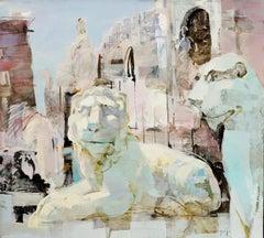 The Guards of Venice - cityscape landscape regal oil painting contemporary lion