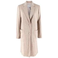 Agnona Beige Silk & Cashmere Blend Jersey Coat - Size US 6