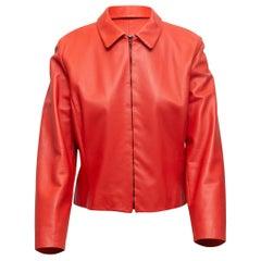 Agnona Red Leather Zip-Up Jacket