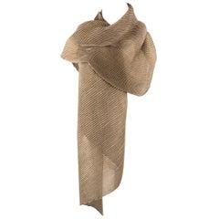 AGNONA Taupe Cashmere / Silk Pleated Scarf