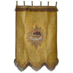 Agnus Dei, Antique French Religious Banner, 1800s