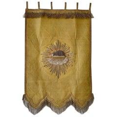 Agnus Dei, Antique French Religious Banner, 1800s