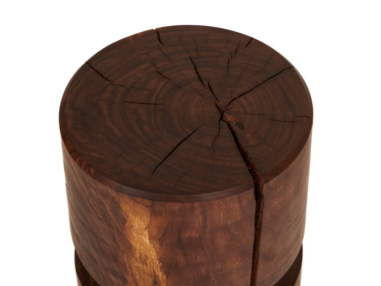 Agora stool / table by Claudio Sebastian Stalling in solid lathe turned walnut kiln dried to control splitting over time finished with white oil hand rubbed finish.