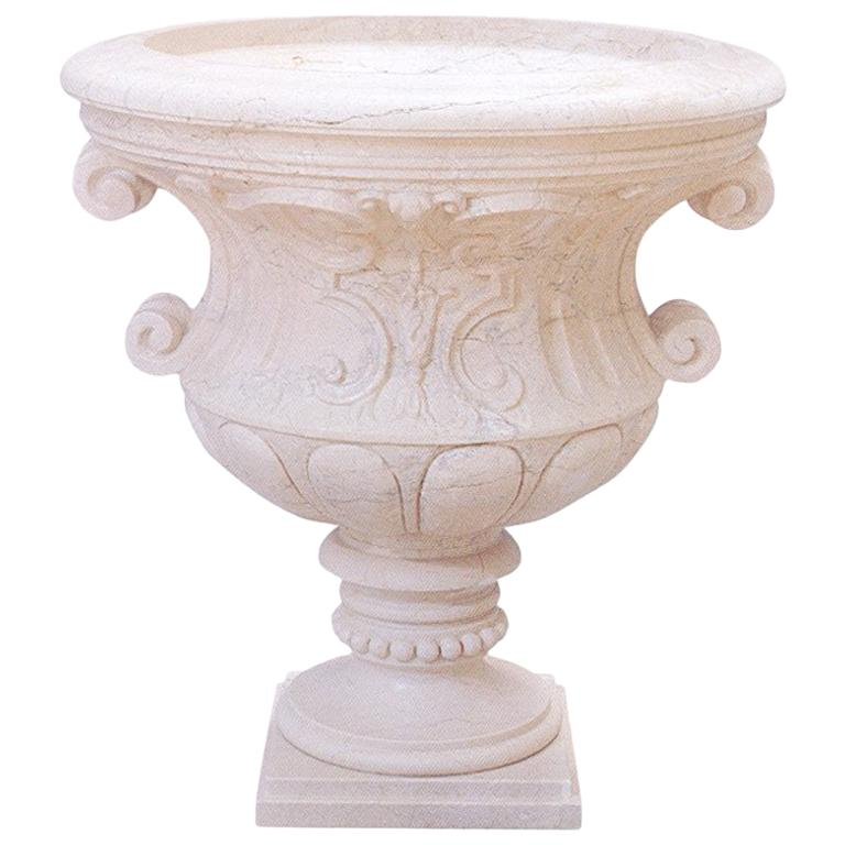 Agora Urn in Crema Marfil Marble by Kreoo For Sale