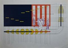 Progettare e Costruire nella Lotta - Original Lithograph by A. Bonalumi - 1975