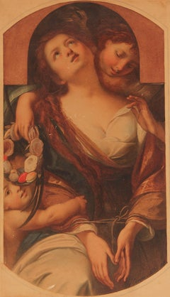 """Allegorical Painting """"Chastity"""" by Agostino Caironi, Dated 1859"""