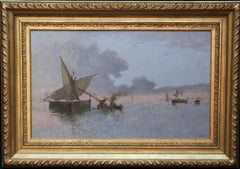 Spezia Marine - Italian art 19th century Impressionist seascape oil painting