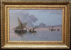 Spezia Marine - Italian art 19th century Impressionist seascape oil painting