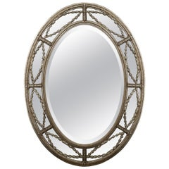 Agostino Silver Gilt Beveled Oval Mirror 'Two Available'