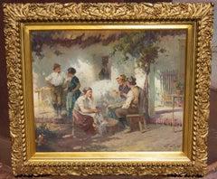 Garden Scene Oil Painting in Gilt Frame, Early 20th Century