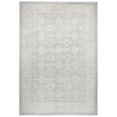 Agra Hand-Knotted Patina Rug in Light Greyish Blue Colors