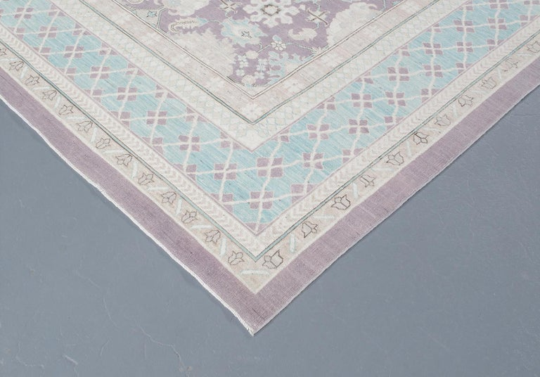 Agra Hand-Knotted Patina Rug in Soft Purple and Blue Colors In New Condition For Sale In New York, NY