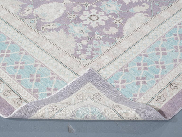 Contemporary Agra Hand-Knotted Patina Rug in Soft Purple and Blue Colors For Sale