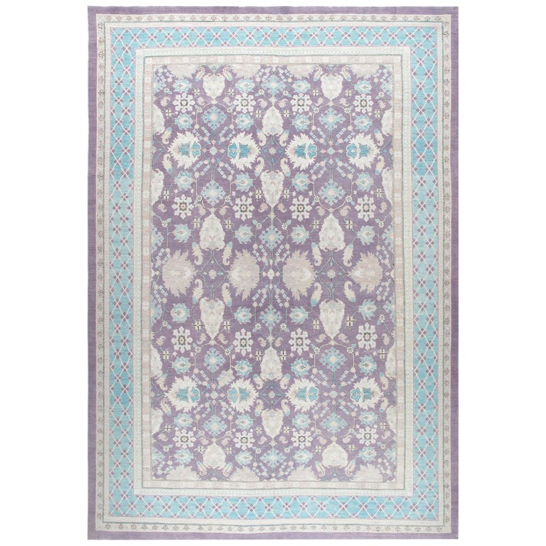 Agra Hand-Knotted Patina Rug in Soft Purple and Blue Colors For Sale