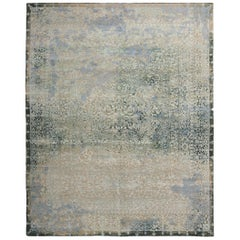 Agra Traditional Blue and Green Wool and Silk Geometric-Floral Rug