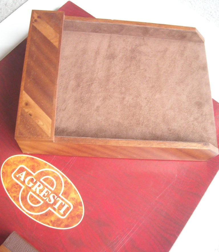 Post-Modern Agresti, Blotter and Desk Set, Four Pieces in Elm Wood For Sale
