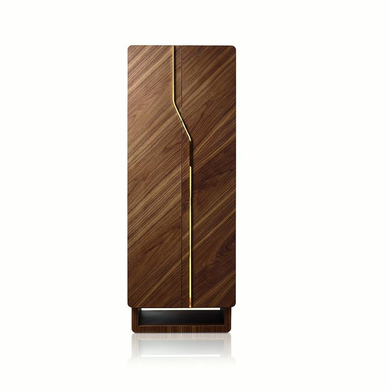 Polished walnut contemporary armored armoire by Agresti.