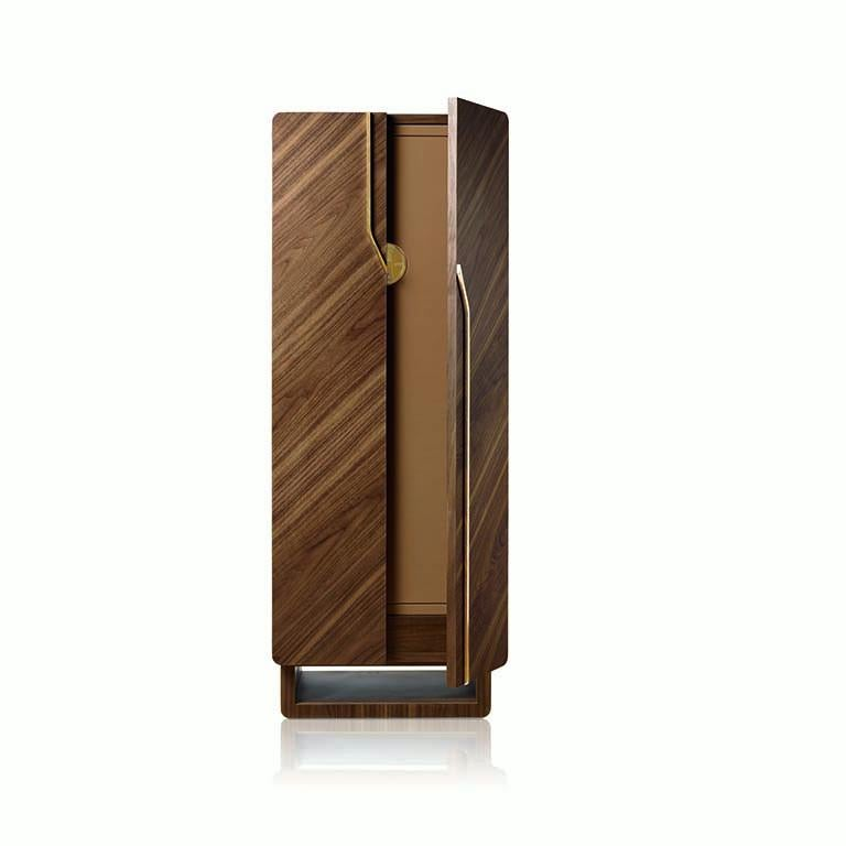 Modern Agresti Arco Contemporary Armoured Jewelry and Watch Armoire in Canaletto Walnut For Sale