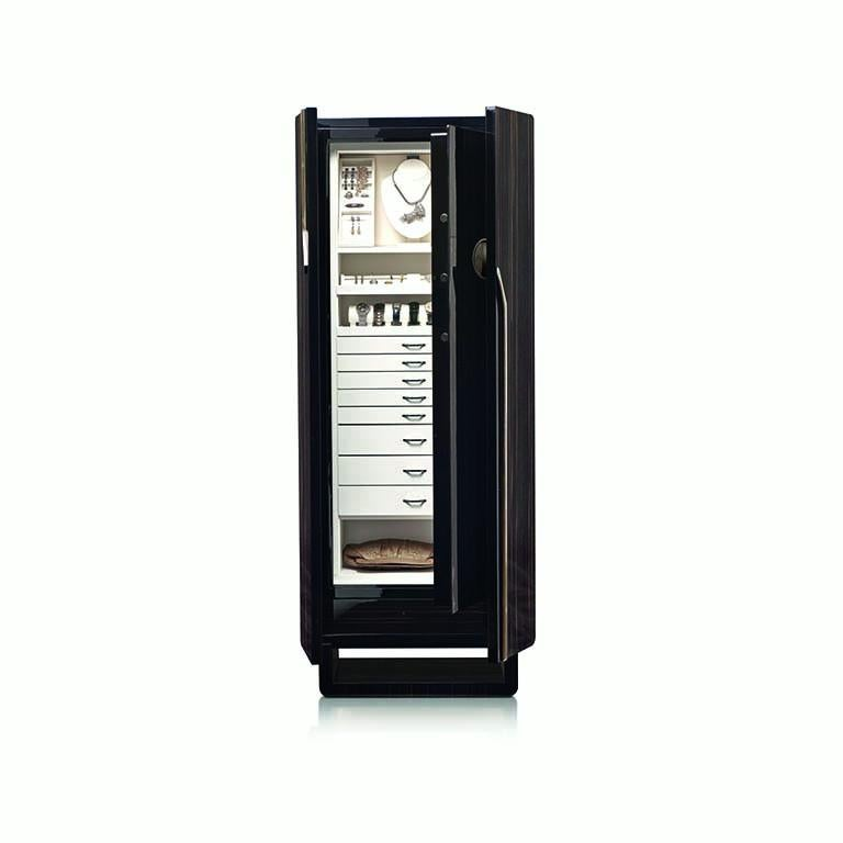 Polished ebony contemporary armored armoire by Agresti.  Rhodium-plated accessories. Round handle with biometric opening device and emergency key integrated. Inside pullout / pull-out necklace holder and drawers lined for jewelry. Secret