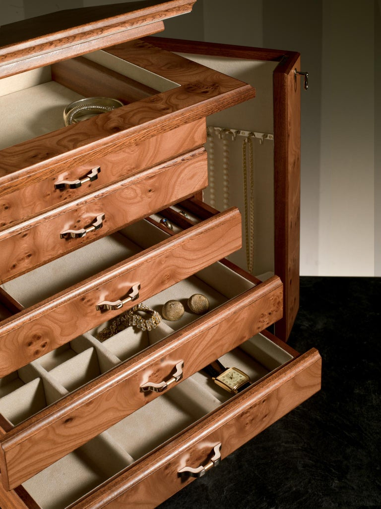 Modern Agresti Bijoux Jewelry Chest in Briar and Mahogany For Sale