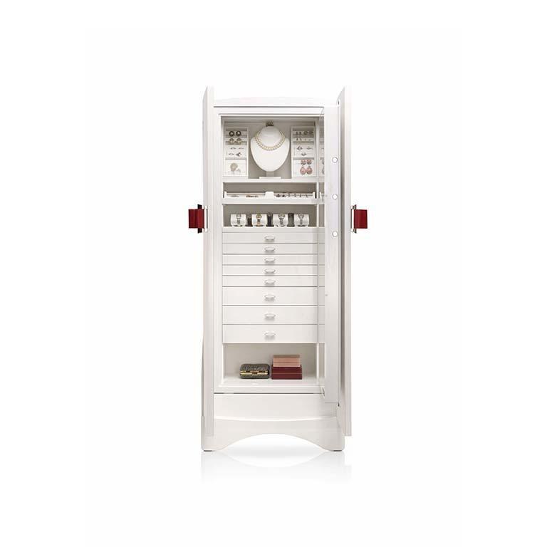 Modern Agresti Contemporary Fiocco Armoire Safe in Shiny White Maple For Sale