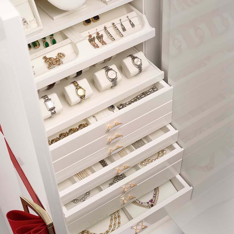 Italian Agresti Contemporary Fiocco Armoire Safe in Shiny White Maple For Sale