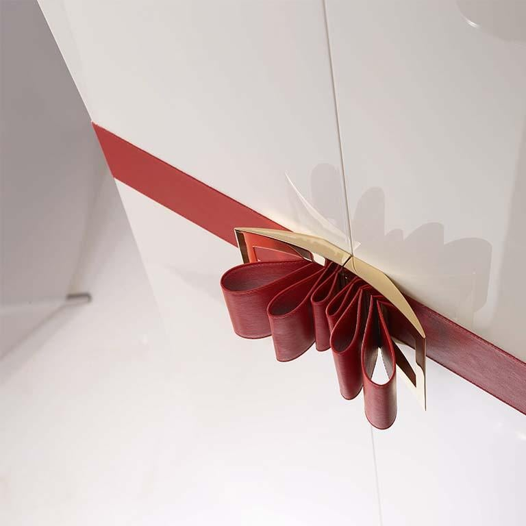 Agresti Contemporary Fiocco Armoire Safe in Shiny White Maple For Sale 1
