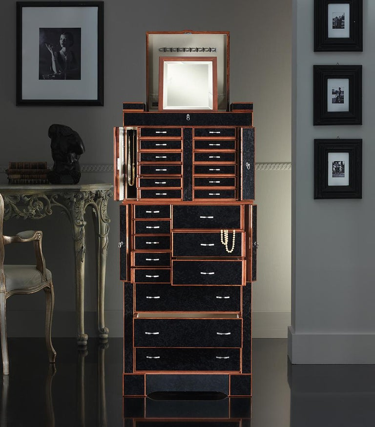 Agresti Quot El Grande Scrigno Quot Jewelry Armoire Safe In Elm Briar And Mahogany For Sale At 1stdibs