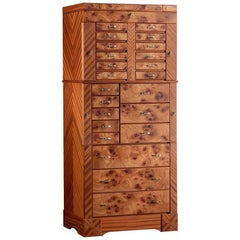 "Agresti ""El Grande Scrigno"" Jewelry Armoire in Elm Briar & Mahogany"