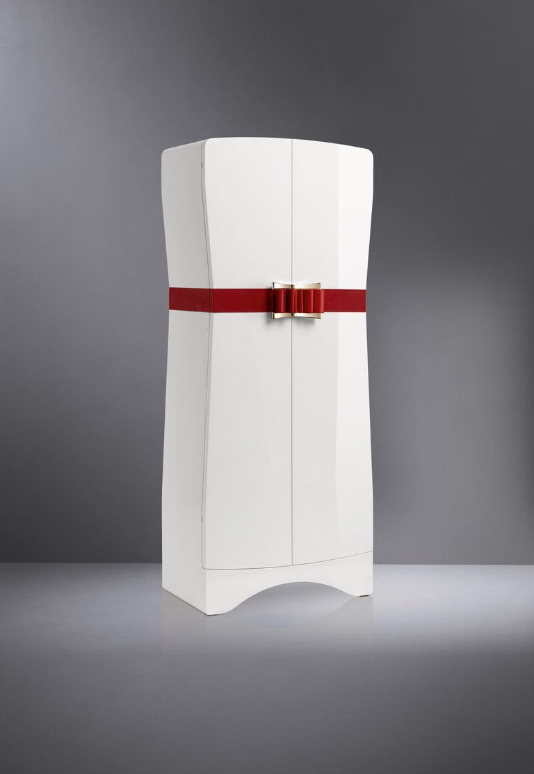Leather Agresti Contemporary Fiocco Armoire Safe in Shiny White Maple For Sale