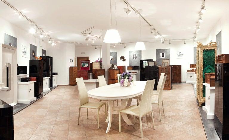 Agresti Contemporary Fiocco Armoire Safe in Shiny White Maple For Sale 4