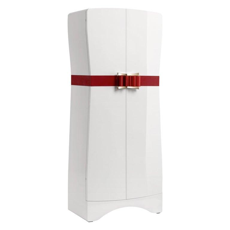 Agresti Contemporary Fiocco Armoire Safe in Shiny White Maple For Sale