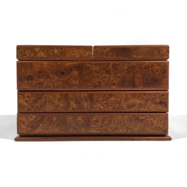 Agresti Gentleman's Watch/ Jewlery Cabinet in Elm Briar For Sale 4