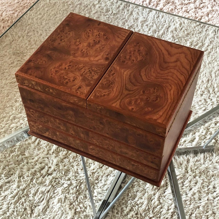 Agresti Gentleman's Watch/ Jewlery Cabinet in Elm Briar For Sale 6