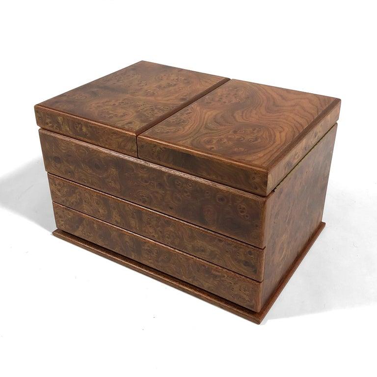 Italian Agresti Gentleman's Watch/ Jewlery Cabinet in Elm Briar For Sale